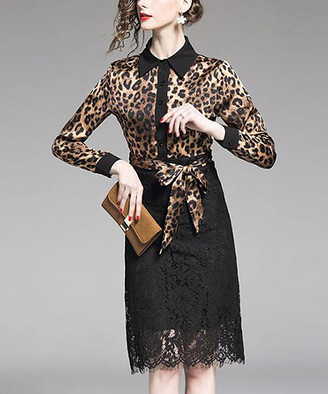 Vicky and Lucas Women's Special Occasion Dresses Brown&Black - Brown & Black Leopard Lace-Contrast Button-Front Belted Dress - Women