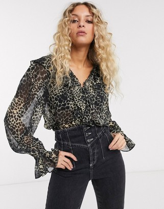 Topshop frill detail sheer blouse in leopard print