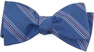 The Tie Bar Light Cobalt Blue Derby Lane Stripe Bow Tie