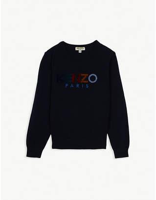 Kenzo Velour logo knitted cotton-blend jumper 4-14 years