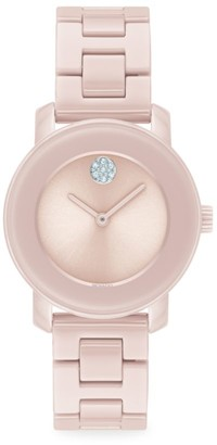 Movado Bold Stainless Steel & Pink Ceramic Bracelet Watch