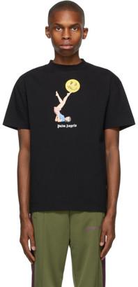 Palm Angels Black Smiley Edition Juggler Pin-Up T-Shirt