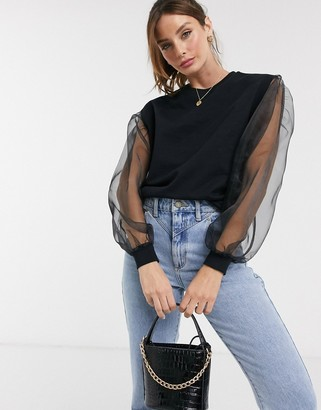 Asos DESIGN oversized sweatshirt with organza sleeves