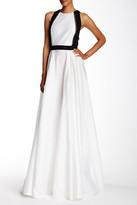 Carmen Marc Valvo Shantung Cutaway Gown