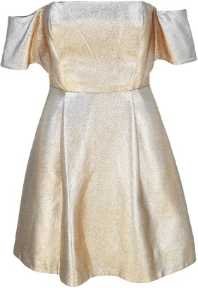 Sandro Metallic Off-The-Shoulder Crepe Dress