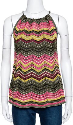M Missoni Multicolor Lurex Chevron Knit Sleeveless Halter Top M