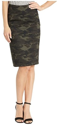 Liverpool Reese Pencil Skirt in Knit Camo (Olive/Brown) Women's Skirt