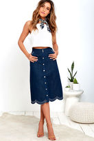 J.o.a. Spontaneity Medium Wash Denim Midi Skirt
