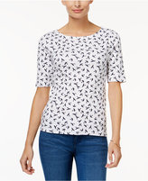 Charter Club Petite Cotton Bird-Print Boat-Neck Top, Only at Macy's