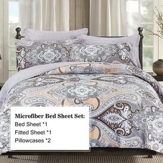 Hgmart HGMart Bed Sheet Set Collection - 4 Piece Brushed Microfiber Bedding Sheet Set - Fade and Stain Resistant Hypoallergenic Deep Pocket Bedspread Set - Rohman, King Size