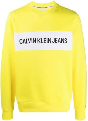 Calvin Klein Jeans Logo Panel Crew-Neck Sweatshirt
