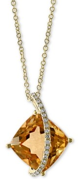"""Effy Citrine (6-1/2 ct. t.w.) & Diamond Accent Cushion 18"""" Pendant Necklace in 14k Gold"""