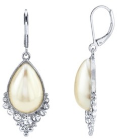 Downton Abbey Crystal and Imitation Pearl Teardrop Earrings
