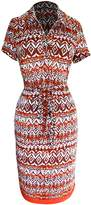 Peach Couture Womens Boho Multi Pattern V Neck Shift Waist Tie Shift Dress