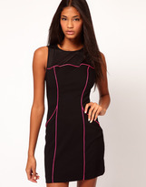 ASOS Body-Conscious Dress with Neon Piping
