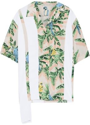 Stella McCartney Crepe-paneled Printed Silk Crepe De Chine Shirt