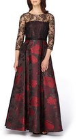 Tahari Women's Lace & Jacquard Ballgown