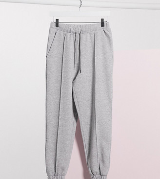 ASOS DESIGN Petite oversized jogger with pintuck in grey marl