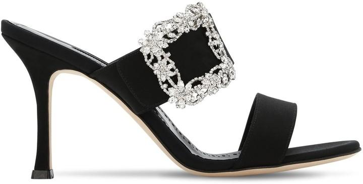 Manolo Blahnik 90mm Gable Crepe De Chine Mule Sandals
