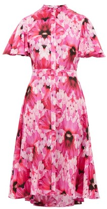 Alexander McQueen Endangered Floral-print Silk-crepe Dress - Womens - Pink Multi