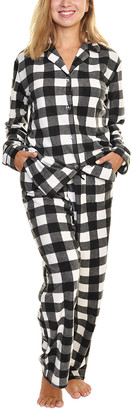 Angelina Women's Sleep Bottoms Black - Black & White Plaid Fleece Pajama Set - Women