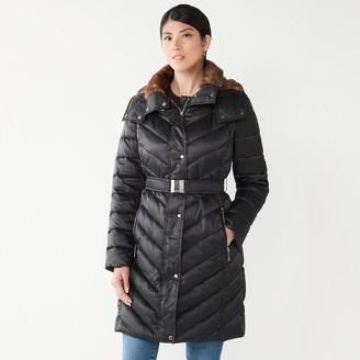 Nine West Women's Faux-Fur Collar Chevron Puffer Coat