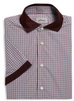 Brioni Short Sleeve Cotton Checkered Sportshirt