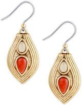 Lucky Brand Gold-Tone Stone Textured Teardrop Drop Earrings