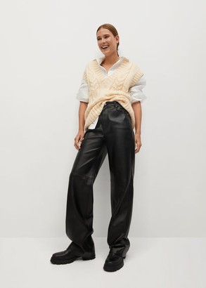 MANGO Leather effect straight trouser