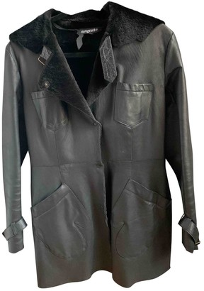 AUGUSTE Black Leather Coat for Women