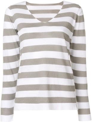 Le Tricot Perugia horizontal-stripes V-neck jumper