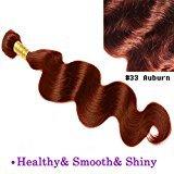 "uSTAR 6A Body Wave Bundle Best Quality Hair Extensions Brazilian Human Hair Weave Weft 100 Human Hair GUARANTEED beautiful Vibrant Auburn #33 color - 26"""