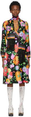 Gucci Black Ken Scott Edition Silk Print Dress