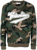 Valentino logo patch camouflage sweatshirt
