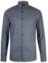 Burton Mens Oil and Navy Long Sleeve Gingham Checked Shirt