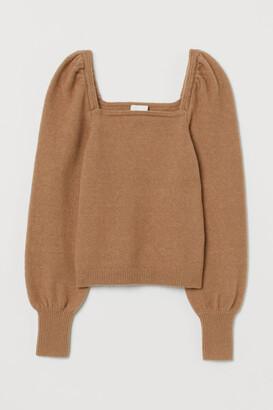 H&M Puff-sleeved Sweater - Beige