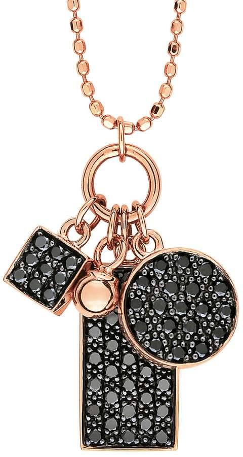 ginette_ny Mini Black Diamond Ever Charm Necklace - Rose Gold