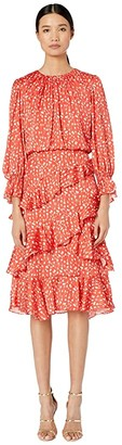 ML Monique Lhuillier Printed Ruffle Dress (Cayenne Multi) Women's Dress
