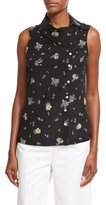 Creatures of the Wind Wheat-Print Folded-Collar Sleeveless Blouse, Black