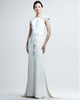 Badgley Mischka Couture Belted Deco Gown