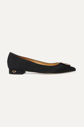 Jennifer Chamandi Lorenzo Crystal-embellished Grosgrain Point-toe Flats - Black