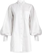 Burberry Exaggerated-sleeve herringbone-cotton shirtdress