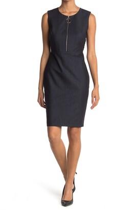 Calvin Klein Sleeveless Denim Zip Front Sheath Dress