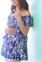 Glam Blue & White Off-Shoulder Maternity Tunic