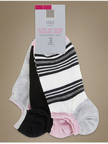M&S Collection 3 Pair Pack Ultra No Show Supersoft Trainer Liner Socks