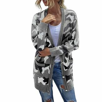 QIYUN.Z Women Winter Knitted Sweater Camo Knitting Long Cardigan Buttoned Loose Robe Sweaters Gray L