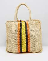 Warehouse Contrast Stripe Slouchy Straw Shopper Bag