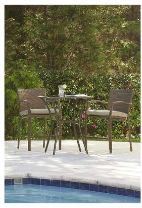 Cosco Lakewood Ranch 3 Piece Steel Woven Wicker Outdoor High Top Bistro Patio Furniture Set with Cushions - Brown