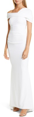 Talbot Runhof Asymmetrical Stretch Crepe Mermaid Gown