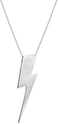 Edge Only Mens Flat Top Lightning Bolt Pendant In Silver